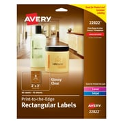 "Avery Easy Peel Print-to-the-Edge Glossy Clear Rectangle Labels, 2"" x 3"", Pack of 80 (22822)"