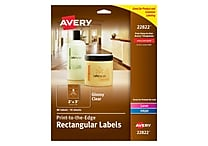 Avery Easy Peel Print-to-the-Edge Glossy Clear Rectangle Labels, 2' x 3', Pack of 80 (22822)