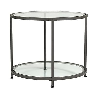 Studio Designs™ Camber Round End Table, Clear/Pewter (71004)