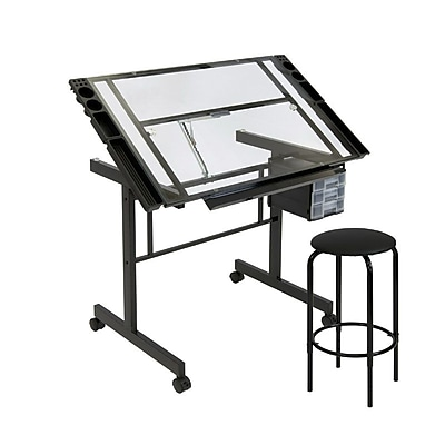 drafting tables drafting drawing desks staples 8 X 8 Post Base studio designs 40 75 steel glass vision craft center black clear