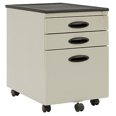 Studio Designs™ 3 Drawers Mobile File Cabinet, Putty/Black, Letter/Legal (51104BOX)
