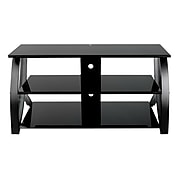 Studio Designs™ Futura Glass/Steel 3-Tier TV Stand, Black (60621)
