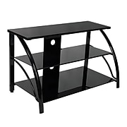 Studio Designs™ Stiletto Glass/Steel 3-Tier TV Stand, Black (60625)