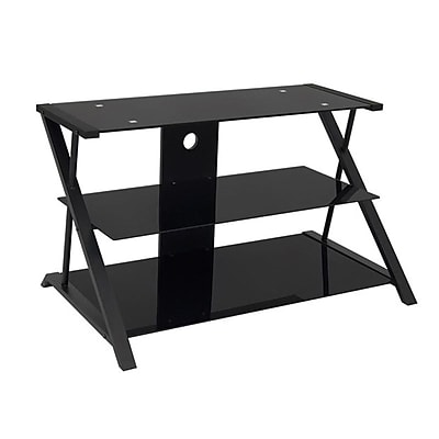 Studio Designs™ Artesia Glass/Steel 3-Tier TV Stand, Black (50700)