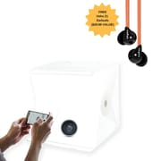 "OrangeMonkie Foldio2 15"" Portable Studio Lightbox with dimmable LED strips & Veho Z1 Earbuds"