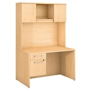 """Bush Business Furniture Emerge 48""""W x 30""""D Desk with Hutch and 3/4 Pedestal - Installed, Natural Maple (300S102ACFA)"""