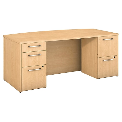 Bush Business Furniture Emerge 72 W X 36 D Bow Front Desk With 2 And 3 Drawer Pedestals Installed Natural Maple 300s101acfa Staples