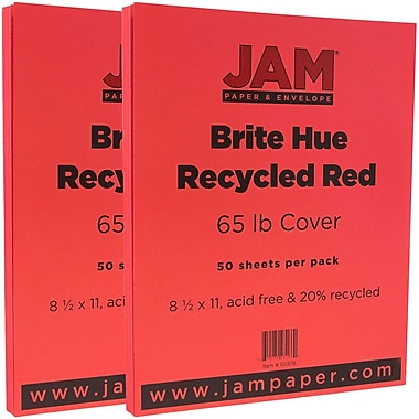 JAM Paper® Bright Color Cardstock, 8.5 x 11, 65lb Red Recycled, 2 packs of 50 (101378g)