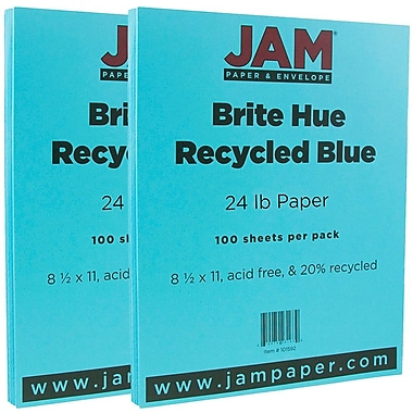 JAM Paper® Bright Color Paper, 8.5 x 11, 24lb Brite Hue Blue Recycled, 2 packs of 100 (101592g)