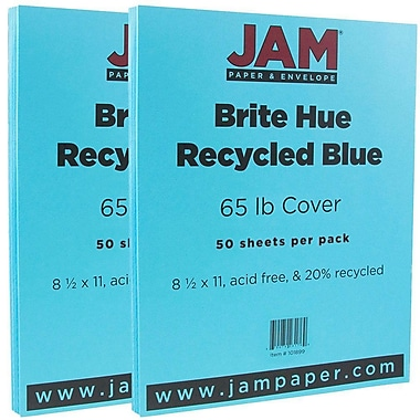JAM Paper® Bright Color Cardstock, 8.5 x 11, 65lb Blue Recycled, 2 packs of 50 (101899g)