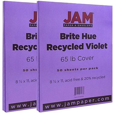 JAM Paper® Bright Color Cardstock, 8.5 x 11, 65lb Violet Purple Recycled, 2 packs of 50 (102426g)
