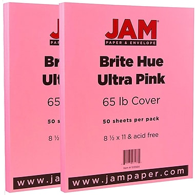 JAM Paper® Bright Color Cardstock, 8.5 x 11, 65lb Ultra Pink, 2 packs of 50 (103614g)