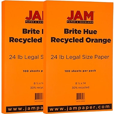 JAM Paper® Bright Color Legal Paper, 8 1/2 x 14, 24lb Brite Hue Orange Recycled, 2 packs of 100 (103689g)