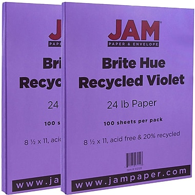 JAM Paper® Bright Color Paper, 8.5 x 11, 24lb Brite Hue Yellow Recycled, 2 packs of 100 (103945g)