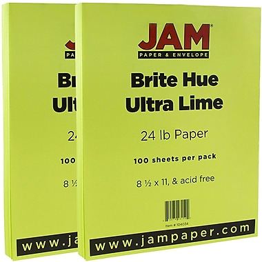 JAM Paper® Bright Color Paper, 8.5 x 11, 24lb Brite Hue Ultra Lime Green, 2 packs of 100 (104034g)