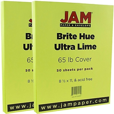 JAM Paper® Bright Color Cardstock, 8.5 x 11, 65lb Ultra Lime Green, 2 packs of 50 (104067g)