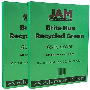 JAM Paper® Bright Color Cardstock, 8.5 x 11, 65lb Green Recycled, 2 packs of 50 (104190g)