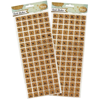 JAM Paper® Self Adhesive Alphabet Letters Stickers, Cork, 2 packs of 96/sheet (132828773g)