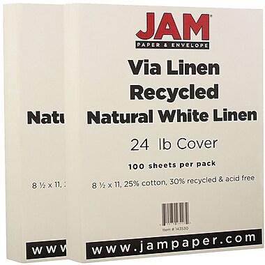 JAM Paper® Strathmore Paper, 8.5 x 11, 24lb Natural White Linen, 2 packs of 100 (143530g)