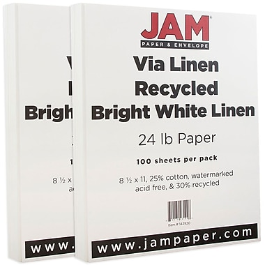 JAM Paper® Strathmore Paper, 8.5 x 11, 24lb Bright White Linen, 2 packs of 100 (143920g)