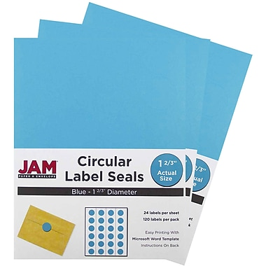 JAM Paper® Round Circle Label Sticker Seals, 1 2/3 inch diameter, Blue, 3 packs of 120 (147627037g)