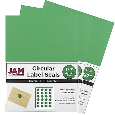 JAM Paper® Round Circle Label Sticker Seals, 1 2/3 inch diameter, Green, 3 packs of 120 (147627041g)