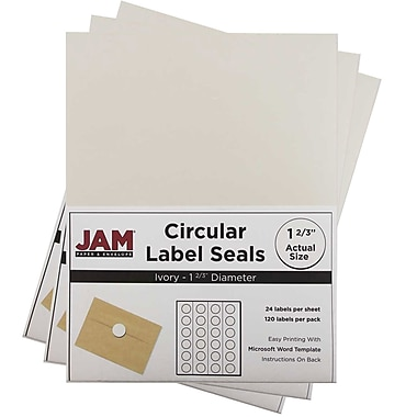 JAM Paper® Round Circle Label Sticker Seals, 1 2/3 inch diameter, Ivory, 3 packs of 120 (147627045g)