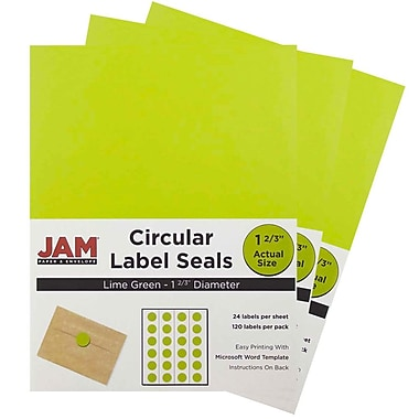 JAM Paper® Round Circle Label Sticker Seals, 1 2/3 inch diameter, Lime Green, 3 packs of 120 (147627049g)