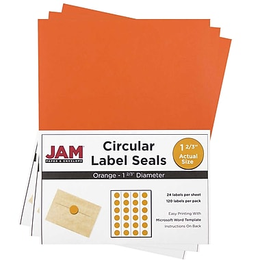 JAM Paper® Round Circle Label Sticker Seals, 1 2/3 inch diameter, Orange, 3 packs of 120 (147627053g)