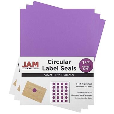 JAM Paper® Round Circle Label Sticker Seals, 1 2/3 inch diameter, Violet Purple, 3 packs of 120 (147627058g)