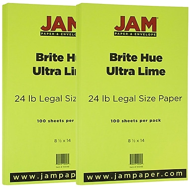 JAM Paper® Bright Color Legal Paper, 8 1/2 x 14, 24lb Brite Hue Ultra Lime Green, 2 packs of 100 (151048g)