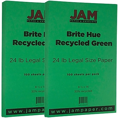 JAM Paper® Bright Color Legal Paper, 8 1/2 x 14, 24lb Brite Hue Green Recycled, 2 packs of 100 (151053g)