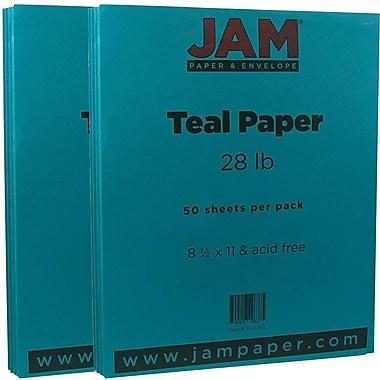 JAM Paper® Matte Paper, 8.5 x 11, 28lb Teal Blue, 2 packs of 50 (1524383g)