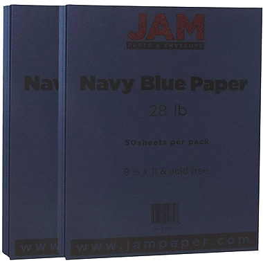 JAM Paper® Matte Paper, 8.5 x 11, 28lb Navy Blue, 2 packs of 50 (156550g)