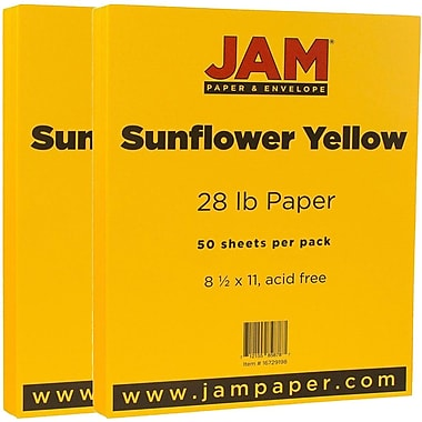 JAM Paper® Matte Paper, 8.5 x 11, 28lb Sunflower Yellow, 2 packs of 50 (16729198g)
