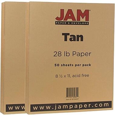 JAM Paper® Matte Paper, 8.5 x 11, 28lb Tan Brown, 2 packs of 50 (16729207g)