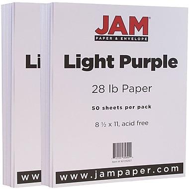 JAM Paper® Matte Paper, 8.5 x 11, 28lb Light Purple, 2 packs of 50 (16729267g)