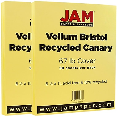 JAM Paper® Vellum Bristol Cardstock, 8.5 x 11, 67lb Canary, 2 packs of 50 (169822g)