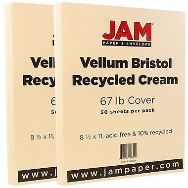 JAM Paper® Vellum Bristol Cardstock, 8.5 x 11, 67lb Cream Ivory, 2 packs of 50 (169824g)