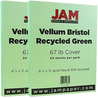 JAM Paper® Vellum Bristol Cardstock, 8.5 x 11, 67lb Green, 2 packs of 50 (169826g)