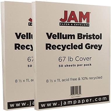 JAM PaperMD – Papier cartonné bristol, fini vélin, 8 1/2 x 11 po, gris, paquet de 100