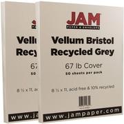 JAM Paper® Vellum Bristol Cardstock, 8.5 x 11, 67lb Grey, 2 packs of 50 (169827g)