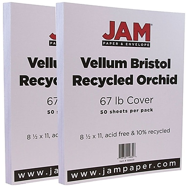 JAM Paper® Vellum Bristol Cardstock, 8.5 x 11, 67lb Orchid Purple, 2 packs of 50 (169829g)