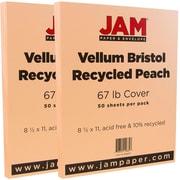 JAM Paper® Vellum Bristol Cardstock, 8.5 x 11, 67lb Peach, 2 packs of 50 (169830g)