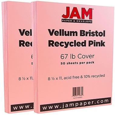 JAM Paper® Vellum Bristol Cardstock, 8.5 x 11, 67lb Pink, 2 packs of 50 (169831g)
