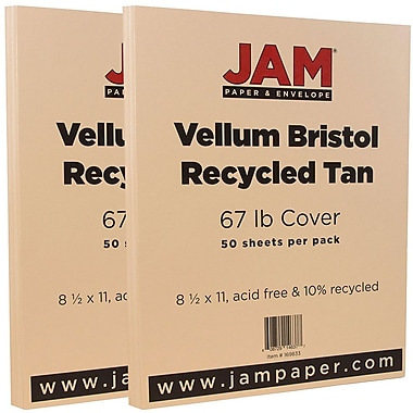 JAM Paper® Vellum Bristol Cardstock, 8.5 x 11, 67lb Tan Brown, 2 packs of 50 (169833g)