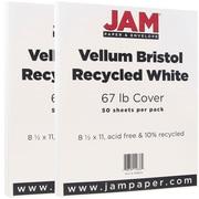 JAM PaperMD – Papier cartonné bristol, fini vélin, 8 1/2 x 11 po, blanc, paquet de 100