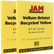 JAM Paper® Vellum Bristol Cardstock, 8.5 x 11, 67lb Yellow, 2 packs of 50 (169838g)