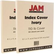 JAM Paper® Vellum Bristol Index Cardstock, 8.5 x 11, 110lb Ivory, 2 packs of 50 (169851g)