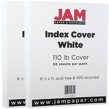 JAM Paper® Vellum Bristol Index Cardstock, 8.5 x 11, 110lb White, 2 packs of 50 (169855g)